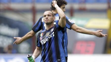 FORLATER INTER? Wesley Sneijders fremtid i Serie A-klubben Inter   er usikker. (Foto: Luca Bruno/Ap)