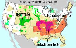 12. juli er det ekstremvær over store deler av USA. (Foto: NOAA)