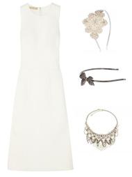DEN LILLE HVITE: (F.v) Hvit, kort kjole med kant (kr 499 fra nelly.com), hvit, klassisk kjole (kr 12 160 fra Micahel Kors/Net-a-porter.com), hårpynt med sløyfe (kr 300 fra Asos.com), hårpynt med stor blomst (kr 159 fra Accessorize) og  statement smykke (kr 259 fra Accessorize).