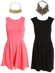 STATEMENT: (Ø.f.v.) Gullsmykke med pynt (kr 389 fra Accessorize), rødrosa kjole (kr 349 fra Nelly.com), stort, mørkt smykke (kr 199 fra indiska) og svart, enkel kjole (kr 299 fra Nelly.com).