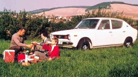 Lille snertne Datsun Cherry. Første Datsun med forhjulstrekk som kom i 1970 - denne er det høy nostalgi-faktor over.