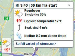 Du får værvarsel for det klokkeslettet du passerer stedene underveis. (Foto: storm.no/trafikk/)