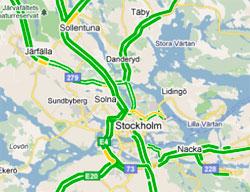 Trafikken flyter greit rundt Stockholm om morgenen 13. juli. (Foto: storm.no/trafikk/)