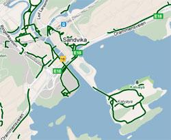 Sykkelveiene tegnes på med grønt. (Foto: storm.no/trafikk/)
