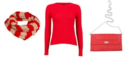 Rødt er en av fargene som kommer i høst. (F.v.) Skjerf i rødt og beige (kr 129 fra Cubus), knallrød genser (kr 299 fra Cubus) og rødrosa veske (kr 149 fra Cubus).
