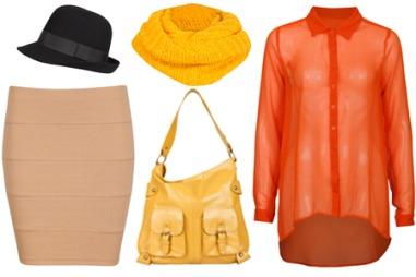 LYSE FARGER: Det er både gult og oransje i høstens motefarger. (O.f.v.) Svart hatt (kr 179 fra Cubus), beige miniskjørt (kr 99 fra Cubus), gult skjerf (kr 99 fra Cubus), gul veske (kr 299 fra Cubus) og transparent oransje skjorte (kr 249 fra Cubus).