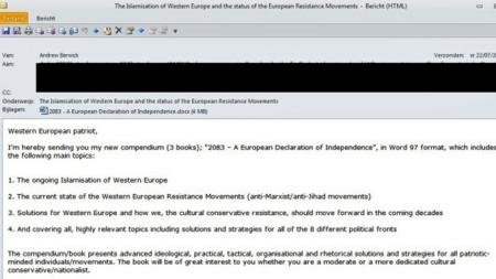 Breiviks email (Foto: Skjermdump)