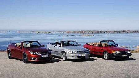 Tre generasjoner Saab 900 cabriolet