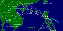 Slik ser prognosene for Nock-ten ut. Sirklene angir usikkerheten i beregningen, og fargen vindhastigheten. (Foto: TSR)