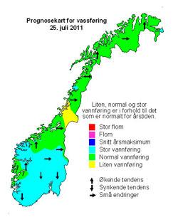 flom kart Flommen har nådd toppen på Sør  og Østlandet