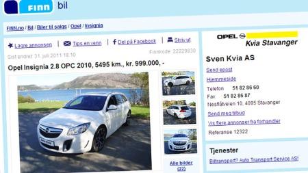 Meget heftig Opel Insignia til salgs i Stavanger. Faksimile fra www.finn.no.