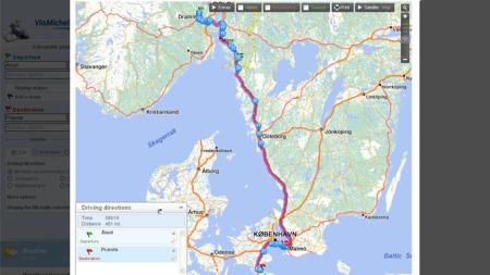 Michelin-guiden beregner ruta, og avslører at turen er omtrent 740 km lang.