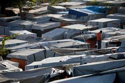 EMILY: Disse teltene vil ikke gi mye beskyttelse mot den tropiske stormen. (Foto: Ap)