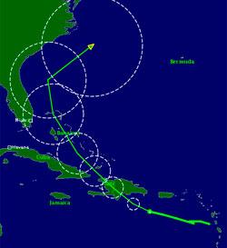 EMILY: Slik ser prognosene for den tropiske stormen ut. Fargen viser vindstyrken, og sirklene viser usikkerheten i varselet.