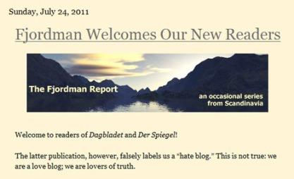 STÅR FRAM: Bloggeren «Fjordman» skriver blant annet på bloggen Gates of Vienna. Nå har ålesunderen stått fram i VG. (Foto: FAKSIMILE)