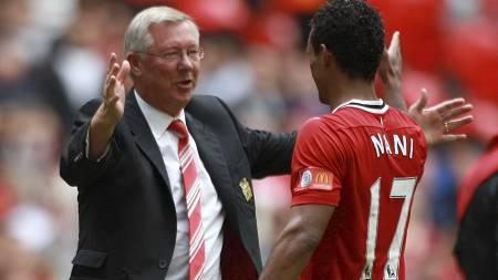 FORSVARER NANI: Sir Alex Ferguson mener utenlandske spillere filmer mer enn engelske i Premier League - men avviser at Nani filmer. (Foto: Nick Potts/Pa Photos)