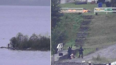 SKREKKSCENER: Politiets beredskapstropp pågrep gjernngsmannen Anders Behring Breivik (til venstre) kort tid etter at de ankom Utøya.