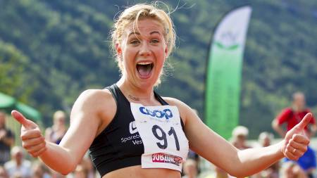Isabelle Pedersen vant 100 meter hekk for kvinner under NM i friidrett i Byrkjelo. (Foto: Grøtt, Vegard/Scanpix)