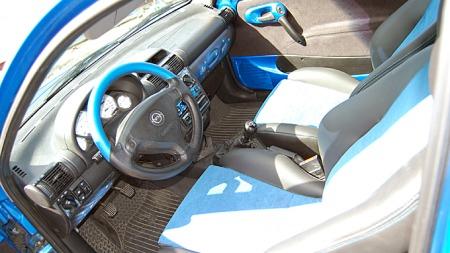 Både delskinn-interiøret, lakkerte paneler og motivlakk innvendig er utført i samme farge som bilen har utvendig. Foto: Privat