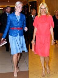 FIN I FARGER: Selv om Kronprinsessen er kjent for sine antrekk   i duse pasteller, har hun ingen problemer med å ta seg godt ut også i   sterke farger, som her med nyanser av blått med rød kontrast, og en løs   korallfarget kjole med matchende veske.