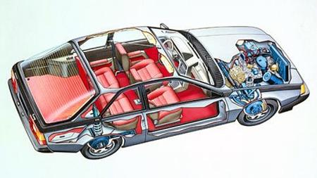 Fuego var basert på Renault 18, som kom et års tid tidligere. Under det glatte og moderne coupé-skallet skjulte det seg tradisjonell teknikk, i hvertfall i forhold til hva franskmennene kunne vært troende til å finne på. Foto: Renault
