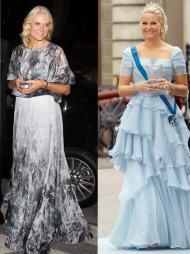 FOTSID SUKSESS: Mette-Marit er som født til å bære fotside,   glamourøse kjoler. Her fra et besøk i New York og fra bryllupet mellom   Kronprinsesse Victoria og Daniel Westling.