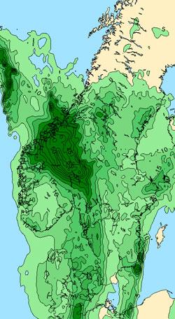 Slik ser nedbørprognosen ut for døgnet mellom klokken 2 natt til fredag 26. og klokken 2 lørdag 27. august ut.  (Foto: StormGeo)