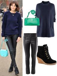 AVSLAPPET: Her deltar it-jenta på en motevisning. Stjel stilen   med genser fra H&M i akryl (kr 199), bukser i skinnimitasjon   fra samme sted (kr 299), skinnskoletter fra Eurosko (kr 899) og skinnveske   fra Adax (kr 899).