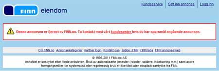 FJERNET AV FINN: Slik ser det ut i dag på en av annonsene Marte svarte på. (Foto: Skjermdump)