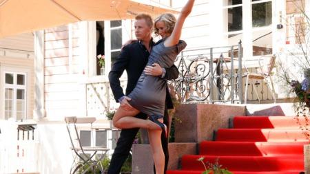 Inger Lise Hansen sammen med dansepartner Lars Alexander Wiulsrud. (Foto: Karoline Braadland)