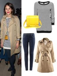 KLASSISK TRENCHSTIL: Trenchcoat fra H&M (kr 499), skinny   jeans fra H&M (kr 199), stripete genser fra Gina Tricot (kr 249)   og gul veske fra Asos.com (ca kr 600).