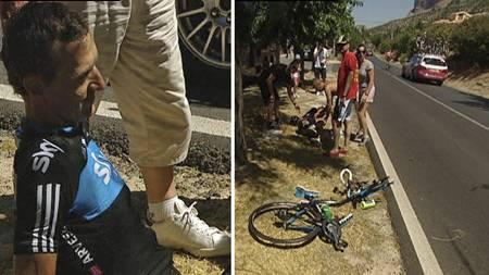 Kurt Asle Arvesen veltet på den femte etappen av Vuelta a Espana. (Foto: TV 2/)