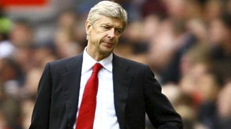 Arsene Wenger under kampen mot Manchester United, der Arsenal tapte 8-2. (Foto: Barrington Coombs/Pa Photos)