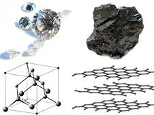 Karbon finnes i to former, avhengig av hvordan atomene er satt sammen. I diamanter er de bundet sammen i et tredimensjonalt gitter, i grafitt danner atomene flak. (Foto: Wikipedia Commons)