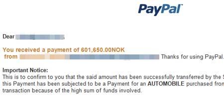 ALT I ORDEN: Utdrag fra mailen som tilsynelatende kom fra PayPal.