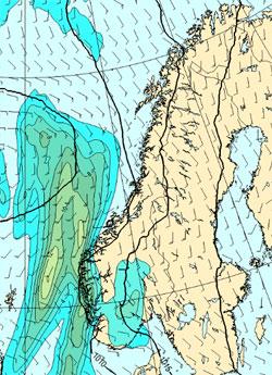 Her skal det regne mellom klokken 02 og 14 søndag. (Foto: StormGeo)