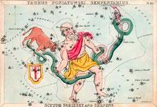 Stjernebildet Slangen på et britisk postkort fra 1825- (Foto: Wikimedia Commons)