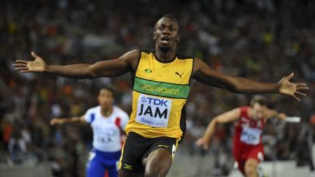 Usain Bolt var ankermann på søndagens stafett. (Foto: OLIVIER MORIN/Afp)