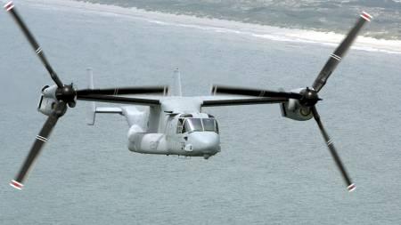 TILTER MOTORENE: Ospreyen har fart og rekkevidde som et turbopropellfly.   (Foto: GERRY BROOME/AP)
