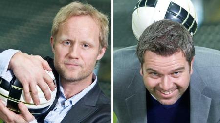 De to fotballkommentatorene Øyvind Alsaker og Petter Myhre gir tips til ekte supportermat.  (Foto: Cornelius Poppe)