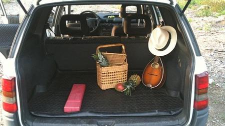 En breddfull picnic-kurv, en mandolin og en luftig sommerhatt gir assosiasjoner til Taube og lyse sommernetter. Men er det positivt at varseltrekanten ligger fremme? Illustrasjon: Skjermdump fra Blocket.se
