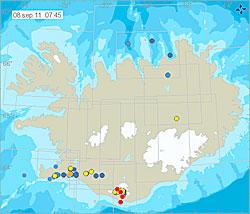 Jordskjelv på Island de siste 48 timene, frem til 8. september klokken 7.50. Rødt er de siste fire timene. (Foto: Iceland Met Office)