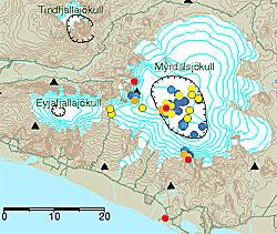 Jordskjelv ved Myrdalsjökull frem til 8. september klokken 7.50. Rødt er de siste fire timene, orange 4-12 timer, gult 12-24, blått 24-36, mørkeblått 36-48.  (Foto: Iceland Met Office)