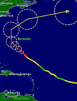 Tirsdag har Katia fortsatt retning mot USAs østkyst, men prognosen   - den tynne streken, viser at orkanen svinger mot nord de neste dagene.   Sirklene viser usikkerheten i beregningene. (Foto: TSR)