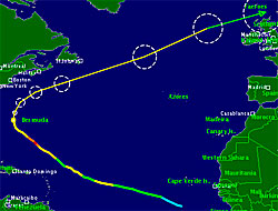 Katia kommer til å krysse Atlanterhavet to ganger. Den tynne streken er prognosen. Gult er orkan i kategori 1, grønt er storm.  (Foto: TSR)