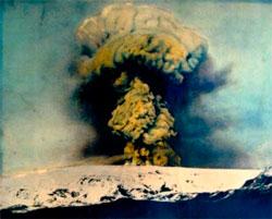 Katla under det siste store utbruddet i 1918. (Foto: Wikimedia Commons)