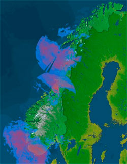 Radaren viser hvor det regner tirsdag klokken 13.30. (Foto:   Storm.no)