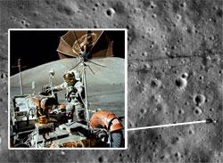 Her står månebilen parkert. (Foto: NASA)