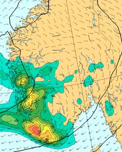 Har faller det mest nedbør mellom kl 15 mandag og 15 tirsdag. Rødt er 45 millimeter. (Foto: StormGeo)