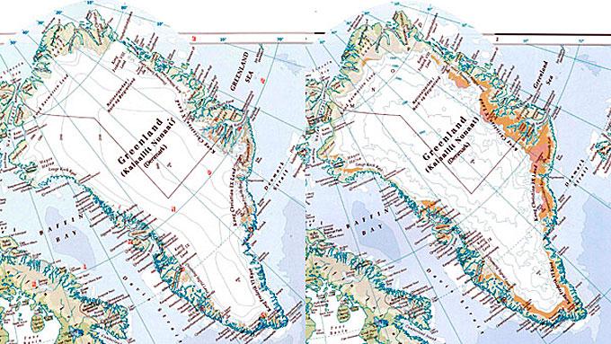 Grønland i 1999 utgave til venstre, og 2011 utgave til høyre. (Foto: Times Comprehensive Atlas of the World)